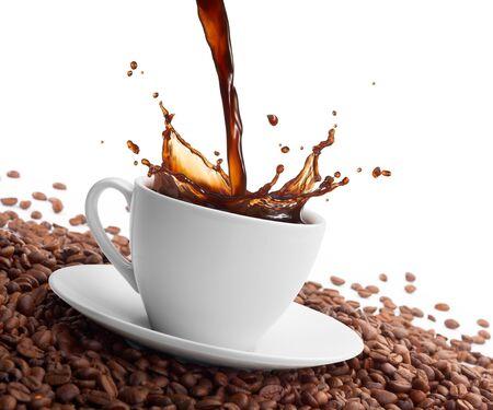 cup of coffee grain spray on a white background Stok Fotoğraf