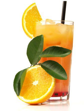 Cocktail fresh juice glass orange pineapple mint white background .