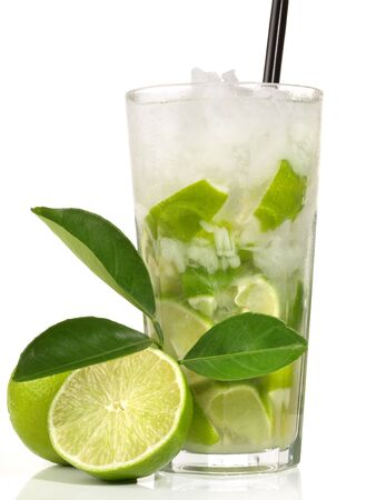 Mojito drink mint water ice glass white background Stock Photo