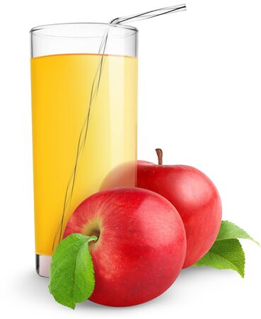 Juice drink fresh apples glass on white background .