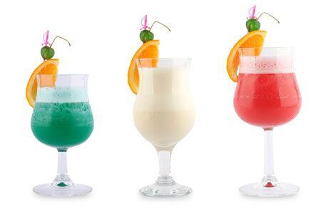 Cocktail fresh orange cherry glasses tubes white background