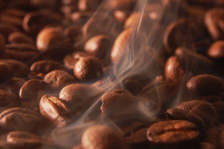 Beans coffee fragrant fry steam smoke .