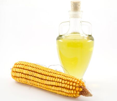 corn olive oil in the carafe on a white background Zdjęcie Seryjne
