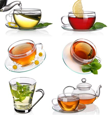 kinds of teas black green with mint lemon on a white background