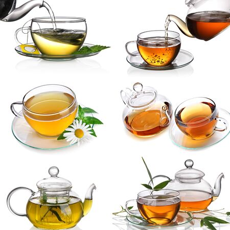 types of teas black tea green with chamomile lemon on a white background Imagens