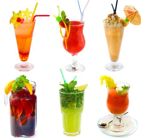 collection of views of cocktails on a white background