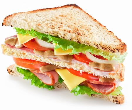 sandwich with bacon cheese vegetables on a white background . 写真素材