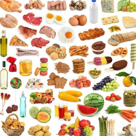 lots of food food fruit meat vegetables .
