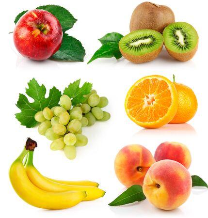 set of fruit bananas grape orange kiwi peach