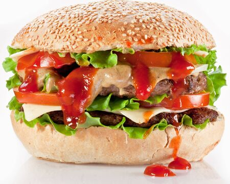 Double hamburger fast food chops on a white background .