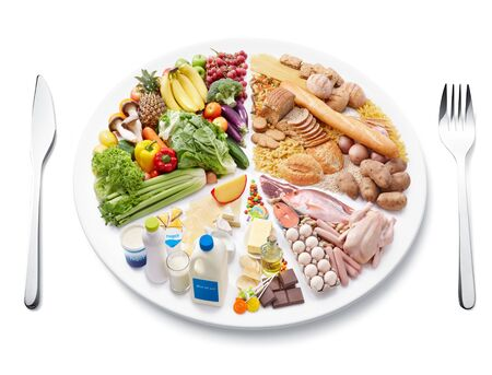 Set of food calories proper nutrition carbohydrates protein .