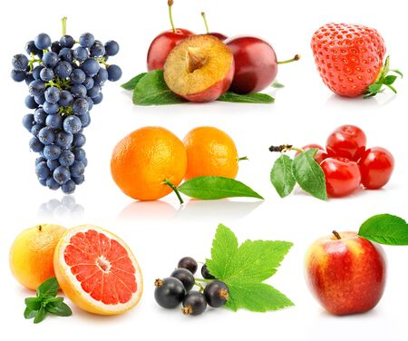 set of fruit berries strawberry grape orange cherry .