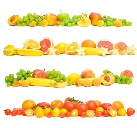 set of fruit vegetables in line on a white background. Фото со стока