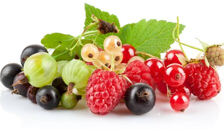Raspberry berries gooseberry currant black red sprig white background. Фото со стока