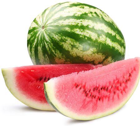 Weißer Hintergrund der Wassermelonenscheibe. Standard-Bild