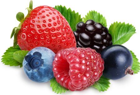 Strawberry, blueberries, raspberry on white background .