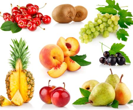 set of cherry, kiwi, grapes, currant peach, pineapple, plum, and pear on white background . Фото со стока