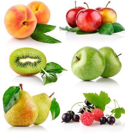 set of fruit berries, peaches, plum, kiwi, apples, pear, currant raspberry on a white background .