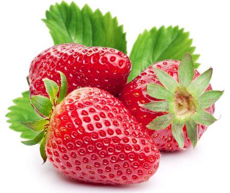 Strawberry leaf leaf close-up white background .
