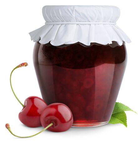 Jam jar of strawberry on a white background.