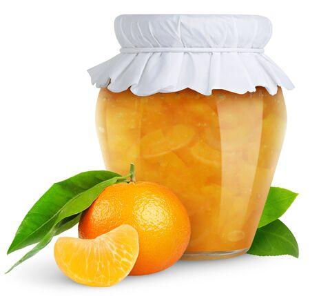 Jam jar of peach fruit on a white background.