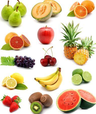 set of fruit on white background.