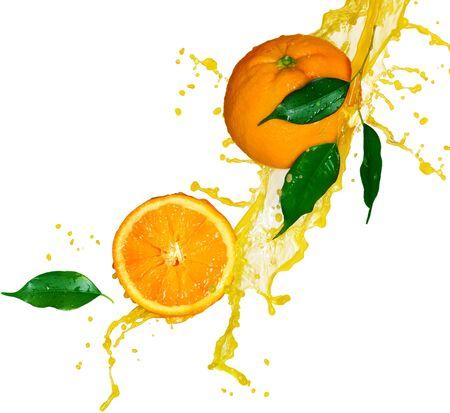 Oranges citrus fruit half juice spray leaves on white background .