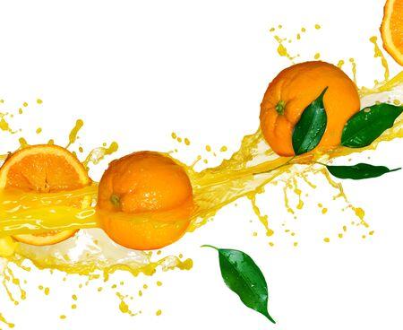 Oranges citrus fruit half juice spray leaves on white background.
