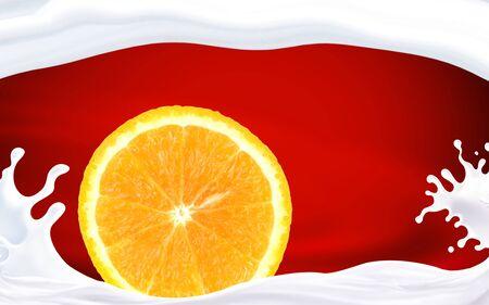 Orange citrus fruit cut against a red white background .