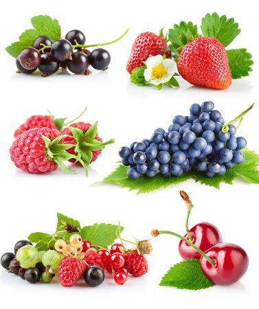 Set of fruit on white background. Imagens