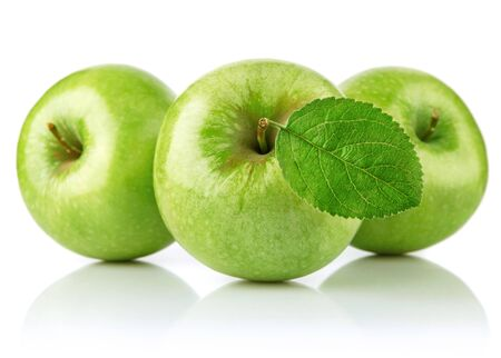 Green apples with leaf fruit on a white background.