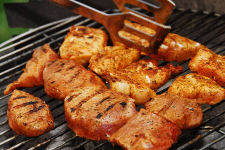Meat grilled steaks barbecue.