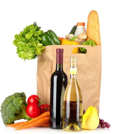 Foods pack buying fruit and vegetables on a white background.
