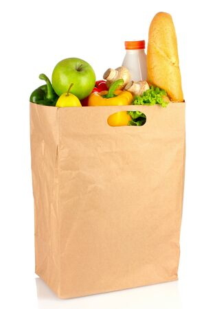 Buying package products on a white background. Imagens