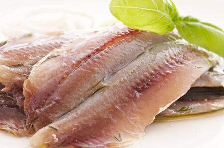 Herring fillet fish on a white background.