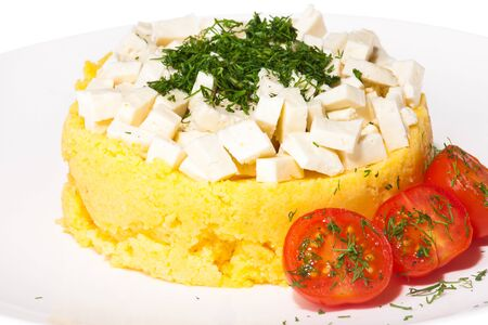 Carpathian gourmet dish with cheese, tomatoes and greens on a white plate.