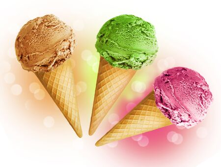 Ice cream chocolate, pistachio and raspberry horns on a light background. Stockfoto