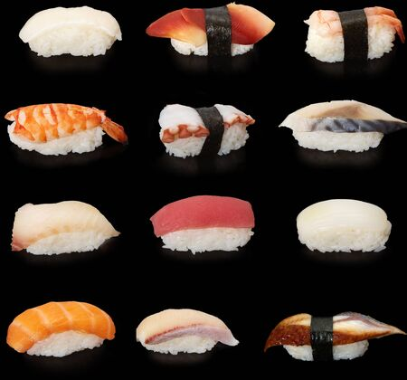 Set of Rolls of Sushi Fish Rice Salmon Curves Seafood on a Black Background . Imagens
