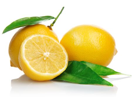 Lemons citrus fruit half white background .