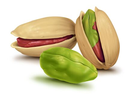 Pistachio nuts core white background . Imagens