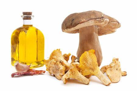 Mushroom shavings in a bottle of white background .