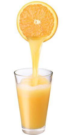 Fresh juice drink cocktail orange jet glass white background .