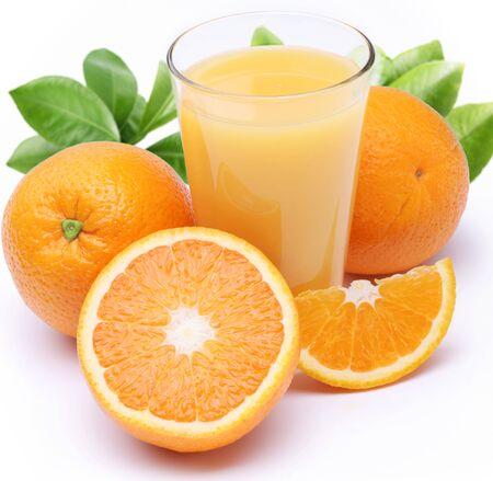 Oranges juice fresh drink half pulp white background .