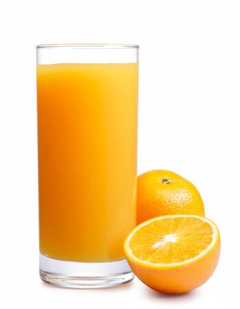 Orange juice drink glass white background .