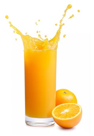 Juice drink orange glass spray white background . Imagens