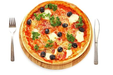 Pizza meal dinner fork fork knife cheese olives tomatoes white background .