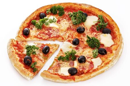 Pizza slice of olive stomatoes cheese greens dinner dinner white background .