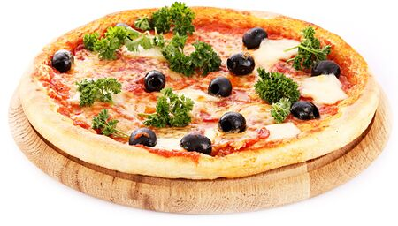 Pizza meal dinner olives cheese tomato greens on white background .
