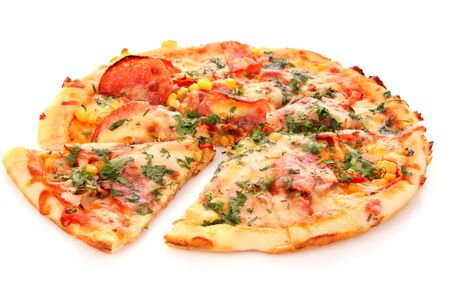 Pizza sausage tomatoes bacon corn greens meal dinner white background .