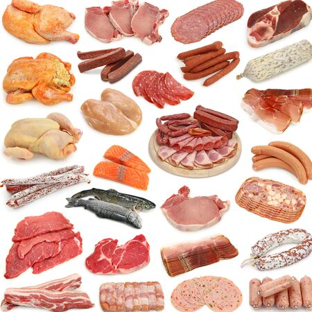 Chicken sausage sausage products sausage sausage fish salmon pork beef white background .